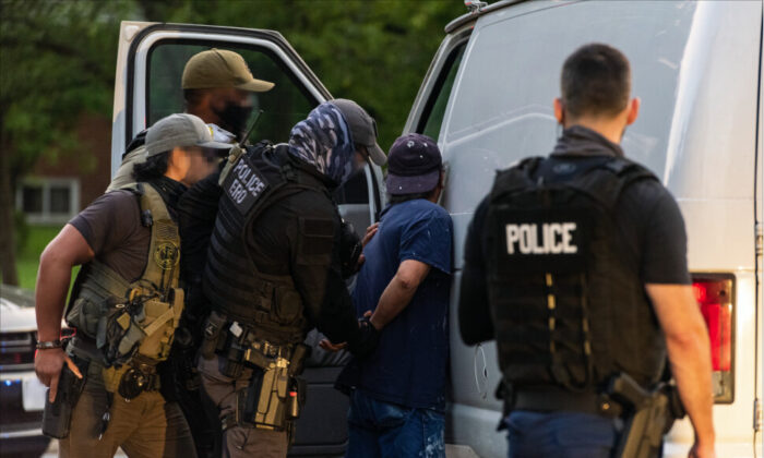 ICE Enforcement and Removal Operations officers apprehend a criminal alien in northern Virginia on Aug. 11 2020. (ICE)