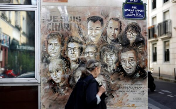 A painting by French street artist in tribute to members of Charlie Hebdo newspaper who were killed by jihadist gunmen in 2015