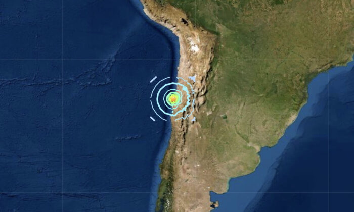 A magnitude 6.8 earthquake struck near the coast of Northern Chile on Sept. 1, 2020. (USGS)