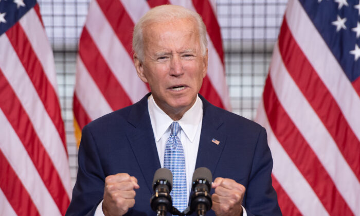Democratic presidential nominee former Vice President Joe Biden speaks during a campaign event at Mill 19 in Pittsburgh, Pa., on Aug. 31, 2020. (Saul Loeb/AFP via Getty Images)