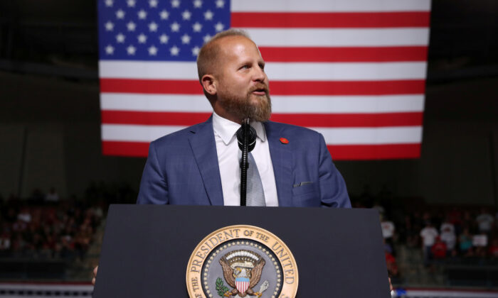 Brad Parscale addresses the crowd before President Donald Trump rallies with supporters in Manchester, New Hampshire, on Aug. 15, 2019. (Jonathan Ernst/Reuters)