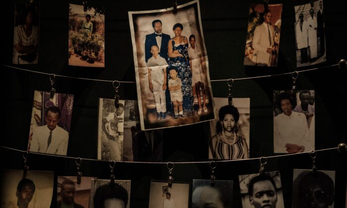 Victims' portraits displayed during an exhibition at the Kigali Genocide Memorial in Kigali, Rwanda on April 29, 2018. (Yasuyoshi Chiba/AFP via Getty Images)