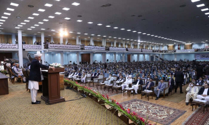 Afghanistan's President Ashraf Ghani speaks during a consultative grand assembly, known as Loya Jirga, in Kabul, Afghanistan, on Aug. 7, 2020. (Courtesy of Afghan Presidential Palace/Handout via Reuters)