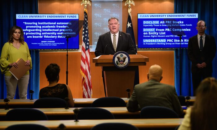US Secretary of State Mike Pompeo speaks during his weekly briefing at the State Department in Washington on Sept. 2, 2020. (Nicholas Kamm/PooL/AFP via Getty Images)