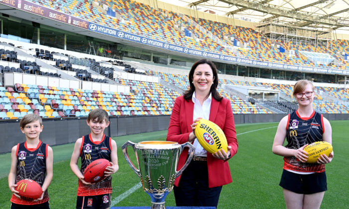 Queensland Premier Annastacia Palaszczuk poses for a photo after a press conference announcing that the 2020 AFL Grand Final will be played at the Gabba in Brisbane, Australia on Sept. 2, 2020. (Bradley Kanaris/Getty Images)