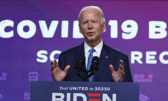 Democratic presidential nominee Joe Biden speaks on the coronavirus pandemic during a campaign event in Wilmington, Del., on Sept. 2, 2020. (Alex Wong/Getty Images)