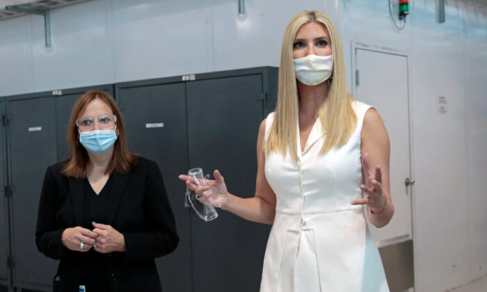 General Motors Co. CEO Mary Barra hosts Ivanka Trump, daughter and adviser to President Donald Trump, for a tour of a GM training center in Warren, Mich., on Sept. 2, 2020. (Rebecca Cook/Reuters)