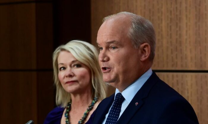 Conservative Leader Erin O'Toole introduces his Deputy Leader Candice Bergen as they hold a press conference on Parliament Hill in Ottawa on Sept. 2, 2020. (Sean Kilpatrick/The Canadian Press)
