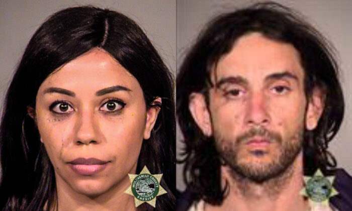 Michelle Peterson O'Conner (L) and Jesse Herman Bates in mugshots. (Multnomah County Sheriff's Office)