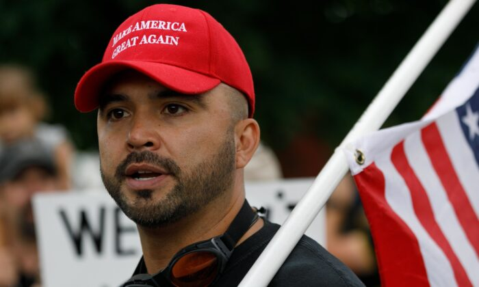 Patriot Prayer leader Joey Gibson speaks during a rally in Portland, Ore., on Aug. 17, 2019. (John Rudoff/AFP via Getty Images)