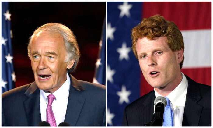 (L) Incumbent U.S. Sen. Edward Markey speaks in Malden, Mass. on Sept. 1, 2020. (Michael Dwyer/AP) (R) U.S. Rep. Joe Kennedy III speaks outside his campaign headquarters in Watertown, Mass. on Sept. 1, 2020. (Charles Krupa/AP)