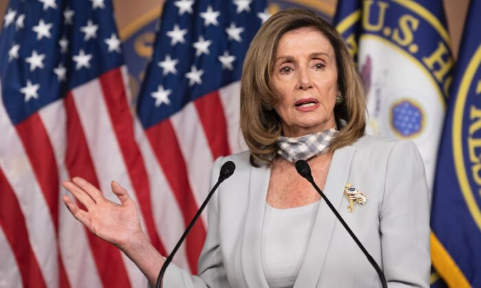 House Speaker Nancy Pelosi (D-Calif.) holds her weekly press briefing on Capitol Hill in Washington on Aug. 13, 2020. (Jim Watson/AFP via Getty Images)