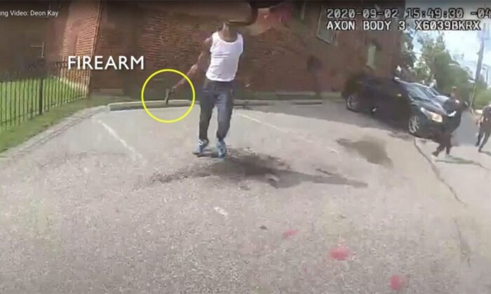 Police video appears to show Deon Kay holding a gun (Metropolitan PD Washington)
