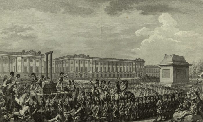 Execution of Louis XVI during the French Revolution. The empty pedestal in front of him had supported a statue of his grandfather, Louis XV, torn down during one of the many revolutionary riots. (Public Domain)