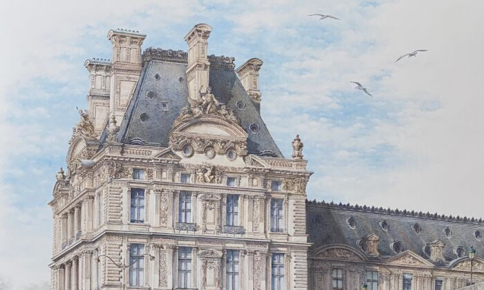 """The Louvre Museum is depicted in a detail of """"Bonjour Paris,"""" 2020, by Anzhelika Doliba. Silverpoint drawing over thin casein paint layer on prepared paper; 19 inches by 24 inches. (Anzhelika Doliba)"""
