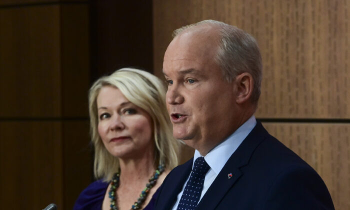 Conservative Leader Erin O'Toole introduces his Deputy Leader Candice Bergen as they hold a press conference on Parliament Hill in Ottawa, on Sept. 2, 2020. (The Canadian Press/Sean Kilpatrick)