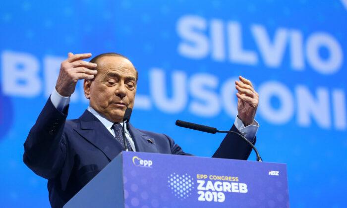Italian Former Prime Minister Silvio Berlusconi speaks during the EPP congress in Arena Zagreb hall in Zagreb, Croatia, on Nov. 21, 2019. (Antonio Bronic/Reuters)