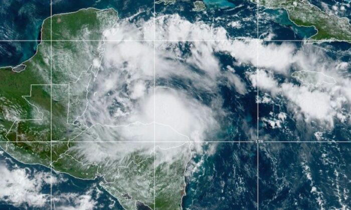 This satellite image released by the National Oceanic and Atmospheric Administration (NOAA) shows Hurricane Nana approaching Belize on Sept. 2, 2020. (NOAA via AP)