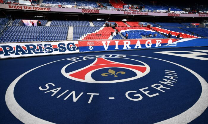 A picture taken at the Parc des Princes stadium in Paris, on Feb. 29, 2020, shows the Paris Saint-Germain's logo before the Ligue 1 football match between PSG and Dijon amid fear of Covid-19. (Franck Fife/AFP via Getty Images)