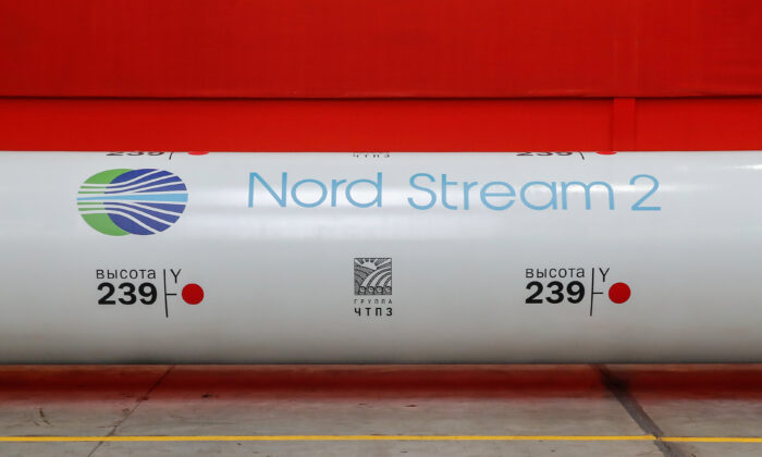 The logo of the Nord Stream 2 gas pipeline project is seen on a large diameter pipe at Chelyabinsk Pipe Rolling Plant owned by ChelPipe Group in Chelyabinsk, Russia, on Feb. 26, 2020. (Maxim Shemetov /Reuters)