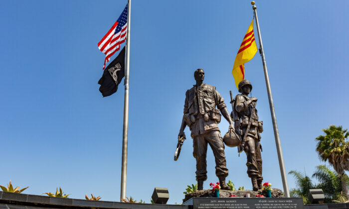 Flags fly over the Vietnam War Memorial in Westminster, Calif., on Sept. 3, 2020. (John Fredricks/The Epoch Times)