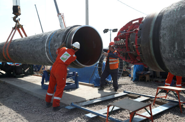 FILE PHOTO: Workers are seen at the construction site of the Nord Stream 2 gas pipeline in Russia