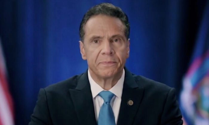 New York Gov. Andrew Cuomo addresses the virtual 2020 Democratic National Convention on Aug. 17, 2020. (Handout/DNCC via Getty Images)