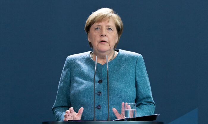German Chancellor Angela Merkel delivers a statement on the Russian opposition activist Alexei Navalny case at the Chancellery in Berlin, Germany on Sept. 2, 2020.
