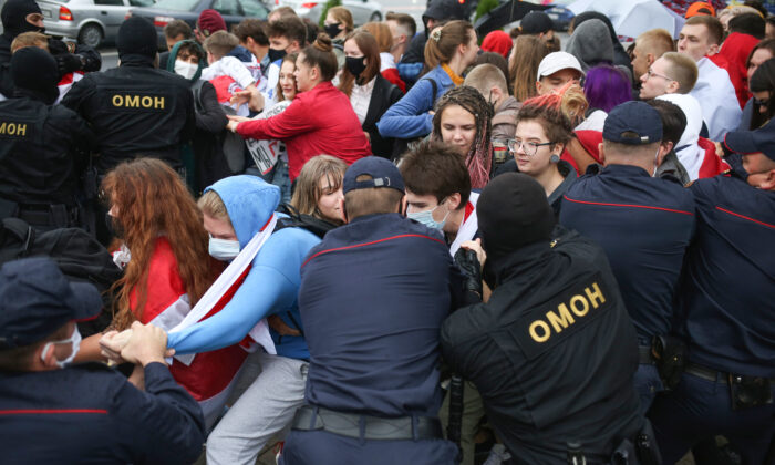 Police detain students during a protest in Minsk, Belarus on Sept. 1, 2020. (Tut.By via AP)