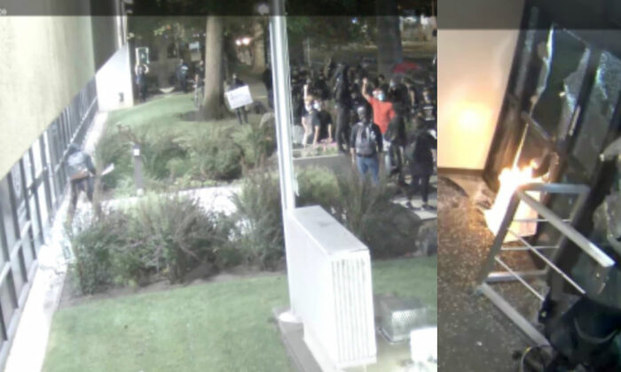 People described as Antifa militants smash windows and set a fire to the Sacramento District Attorney's Office on Aug. 27, 2020. (Sacramento District Attorney's Office)