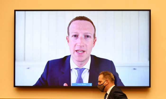 Facebook CEO Mark Zuckerberg testifies virtually before the House of Representatives Judiciary Subcommittee on Antitrust, Commercial and Administrative Law in Washington on July 29, 2020. (Mandel Ngan/Pool via Reuters)