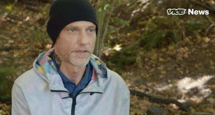 In this still image from video, Michael Forest Reinoehl speaks to a reporter about the shooting in Portland, Ore., in an undated interview. (Vice News)
