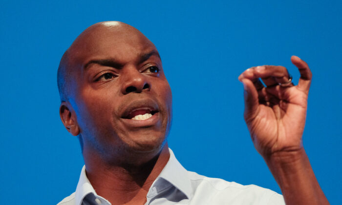 Shaun Bailey, Conservative candidate for the Mayor of London, delivers a speech on the third day of the Conservative Party Conference at Manchester Central in Manchester, England, on Oct. 1, 2019. (Ian Forsyth/Getty Images)