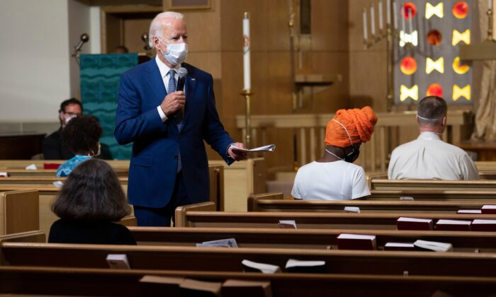 Democratic presidential candidate and former Vice President Joe Biden speaks at Grace Lutheran Church in the aftermath of the police shooting of Jacob Blake in Kenosha, Wis., on Sept. 3, 2020. (Jim Watson/AFP via Getty Images)
