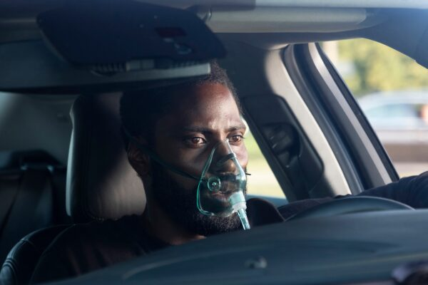 "John David Washington in a scene from ""Tenet."""