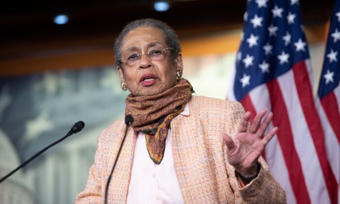 Delegate Eleanor Holmes Norton, Democrat of Washington, DC, speaks about the 101st anniversary of the House passage of the 19th Amendment giving women the right to vote, as well as current voting issues, during a press conference on Capitol Hill in Washington, on May 21, 2020. (Saul Loeb/AFP via Getty Images)