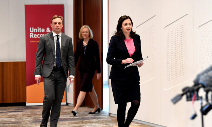 Premier Annastacia Palaszczuk, Queensland Deputy Premier Steven Miles and Queensland Chief Health Officer Dr Jeannette Young arrive at a press conference to give an update on Queensland COVID-19 Border Controls in Brisbane, Australia on June 30, 2020. (Photo by Bradley Kanaris/Getty Images)