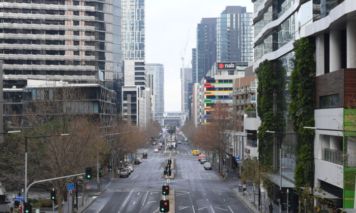 Empty streets of the city are seen on July 27, 2020 in Melbourne, Australia. (Quinn Rooney/Getty Images)