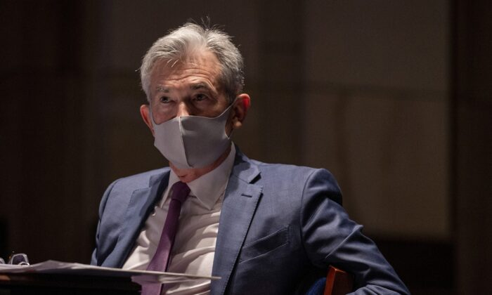 Federal Reserve Chairman Jerome Powell, wearing a face mask, on Capitol Hill in Washington, on June 30, 2020. (Tasos Katopodis/Pool via Reuters)