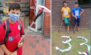 'Litter Kickers': Two Young Brothers Pick Up Littered Face Masks Around Their Neighborhood