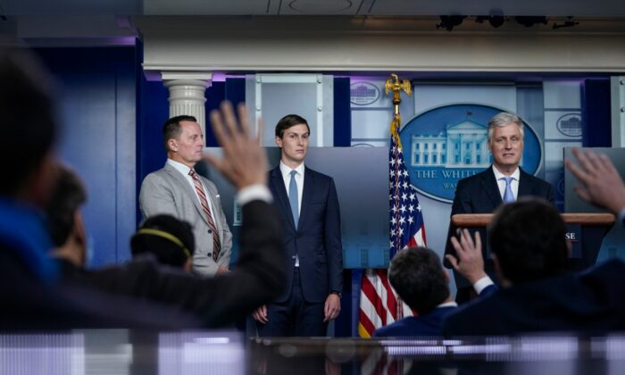 (L-R) Adviser to the president on Serbia-Kosovo Richard Grenell, senior adviser to the President Jared Kushner, and national security adviser Robert O'Brien take questions during a press briefing at the White House in Washington on Sept. 4, 2020. (Drew Angerer/Getty Images)