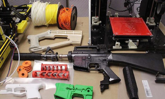 Some of the 3D-printed firearms parts seized by police from an Alberta man's home. (ALERT handout)