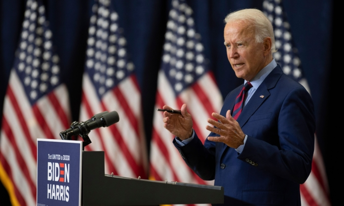 Democratic presidential nominee Joe Biden speaks on the state of the U.S. economy on Sept. 4, 2020, in Wilmington, Del. (Jim Watson/AFP via Getty Images)