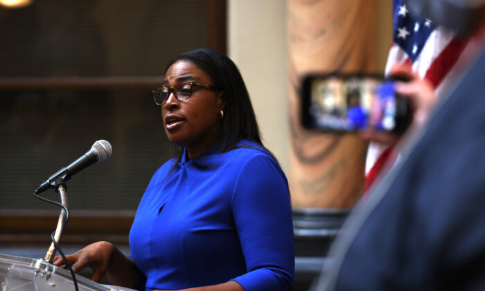 Lovely Warren, mayor of Rochester, speaks during a press conference on the death of Daniel Prude, in Rochester, New York, on Sept. 3, 2020. (Michael M. Santiago/Getty Images)