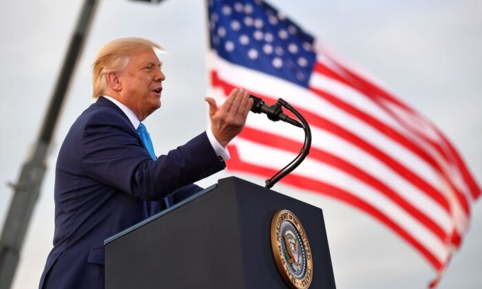 President Donald Trump speaks during a campaign event at Arnold Palmer Regional Airport in Latrobe, Pa., on Sept. 3, 2020. (Mandel Ngan/AFP via Getty Images)