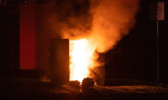 An electrical box on fire in Fountain Valley, Calif., on Sept. 4, 2020. (John Fredricks/The Epoch Times)