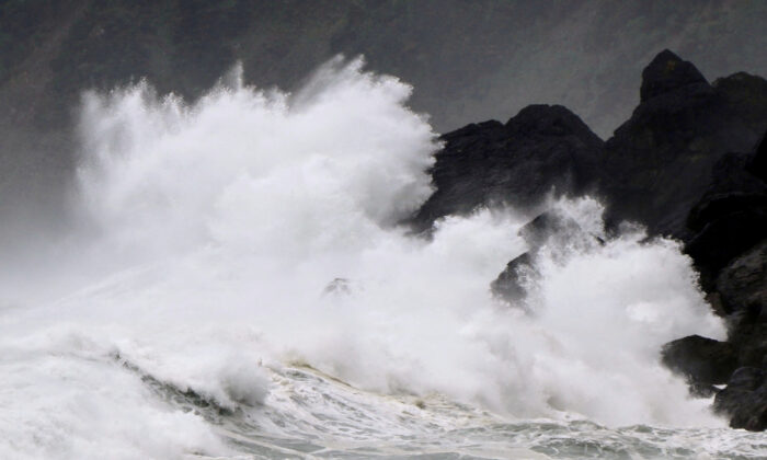 High waves triggered by Typhoon Haishen crash against the coast of Amami Oshima island, Kagoshima prefecture, Japan on Sept. 5, 2020. Kyodo via Reuters)