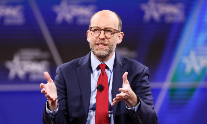 Russ Vought, Acting Director of the Office of Management and Budget, speaks at the CPAC convention in National Harbor, Md., on Feb. 29, 2020. (Samira Bouaou/The Epoch Times)