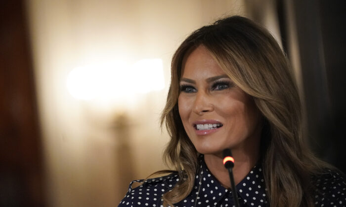 First lady Melania Trump speaks during an event in at the White House in Washington on Sept. 3, 2020. (Drew Angerer/Getty Images)