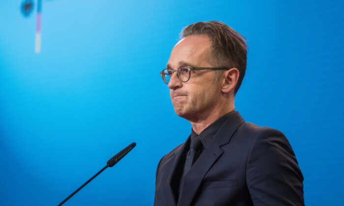 German Foreign Minister Heiko Maas attends a press conference at the Foreign Ministry in Berlin on Sept. 2, 2020. (Stefanie Loos/Pool via AP)